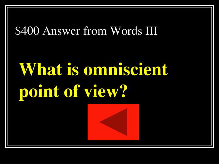 $400 Answer from Words III