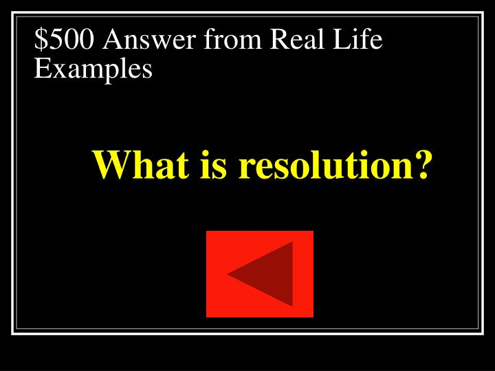 $500 Answer from Real Life Examples