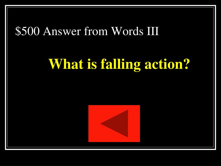 $500 Answer from Words III