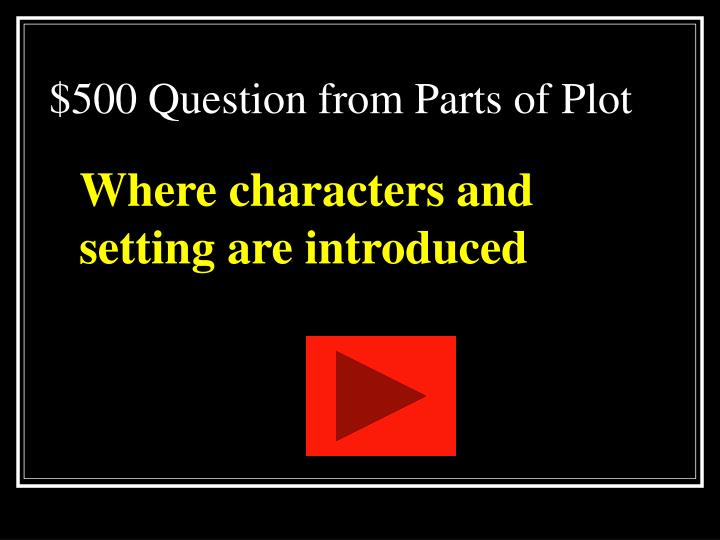 $500 Question from Parts of Plot