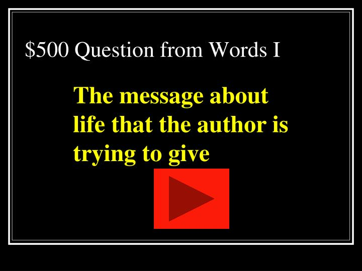 $500 Question from Words I