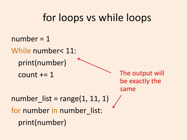 For loops vs while loops