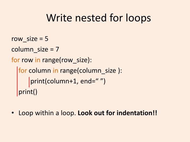 Write nested for loops