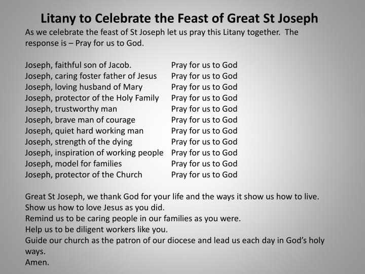 Litany to Celebrate the Feast of Great St Joseph