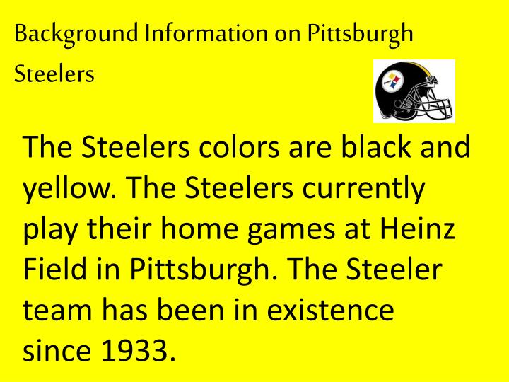 Background Information on Pittsburgh Steelers