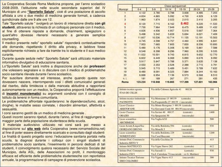 La Cooperativa Sociale Roma Medicina propone, per l'anno scolastico 2008-2009, l'istituzione nelle scuole secondarie superiori del IV Municipio di uno