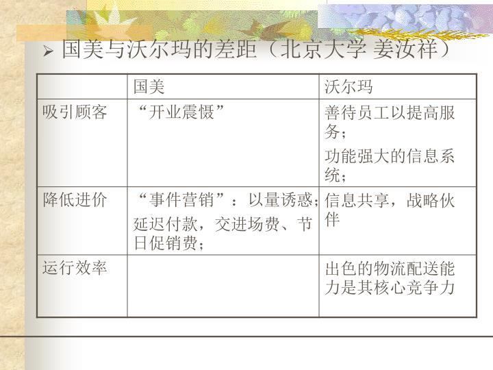 国美与沃尔玛的差距(北京大学 姜汝祥)