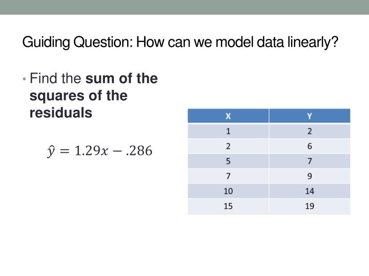 Guiding Question: How can we model data linearly?