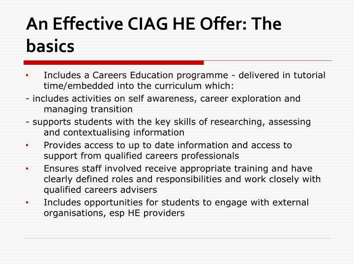 An Effective CIAG HE Offer: The basics