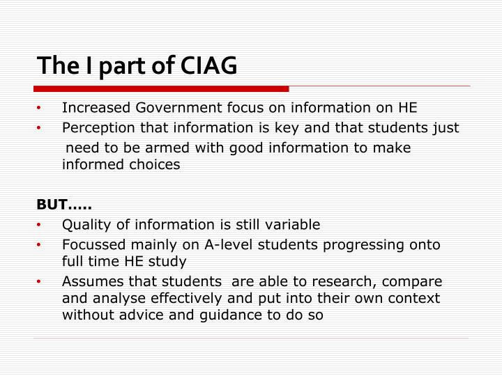 The I part of CIAG