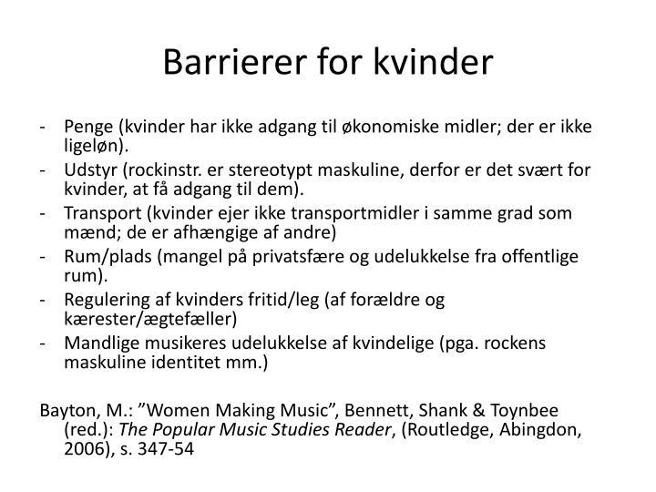 Barrierer for kvinder