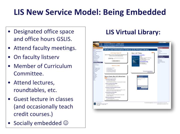 LIS New Service Model: Being Embedded