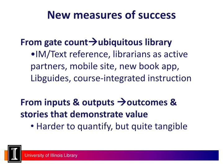 New measures of success