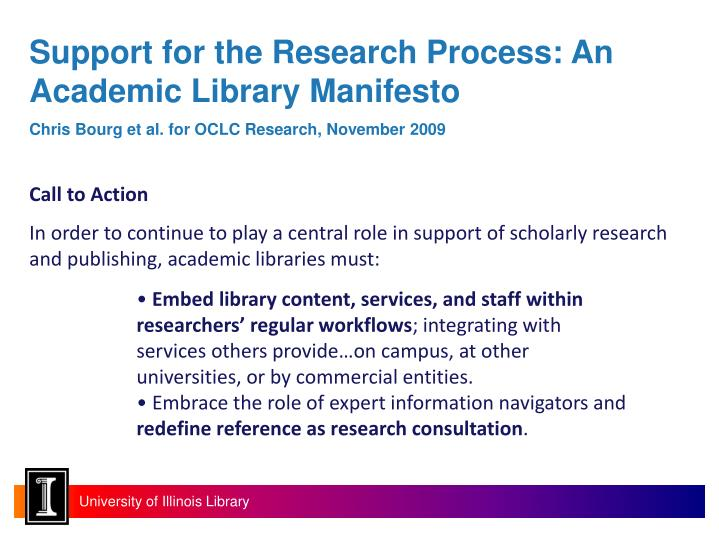 Support for the Research Process: An Academic Library Manifesto