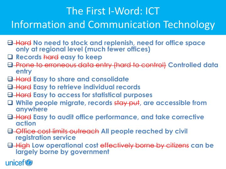 The First I-Word: ICT