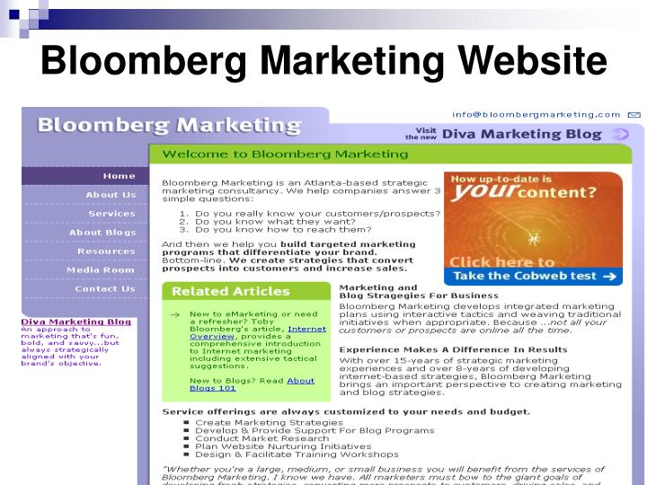 Bloomberg marketing website