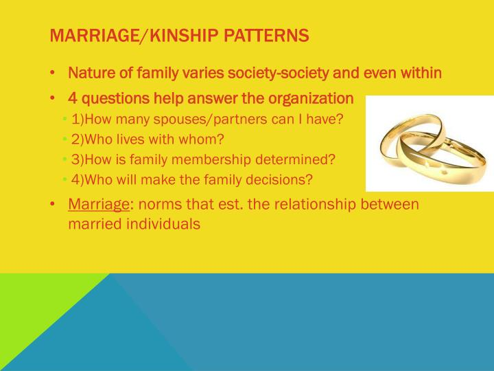 Marriage/kinship patterns