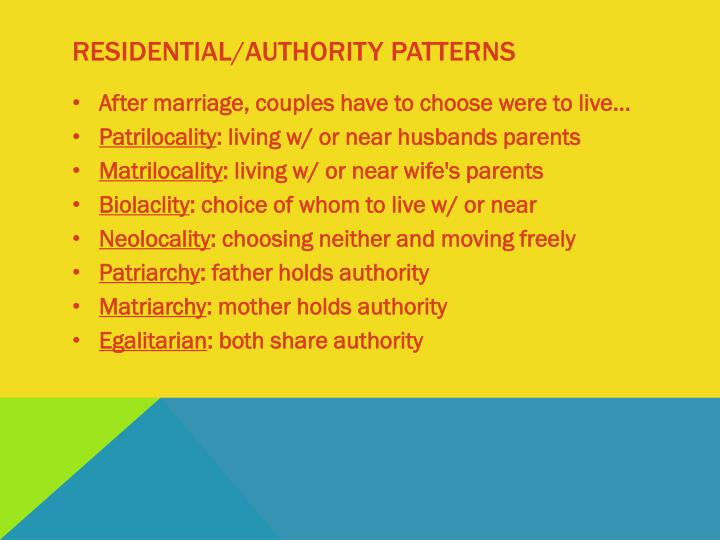 Residential/Authority patterns