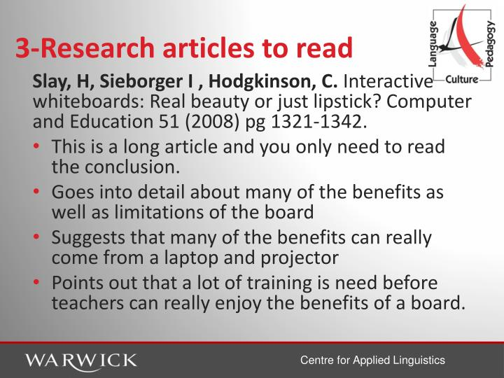 3-Research articles to read