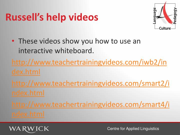 Russell's help videos