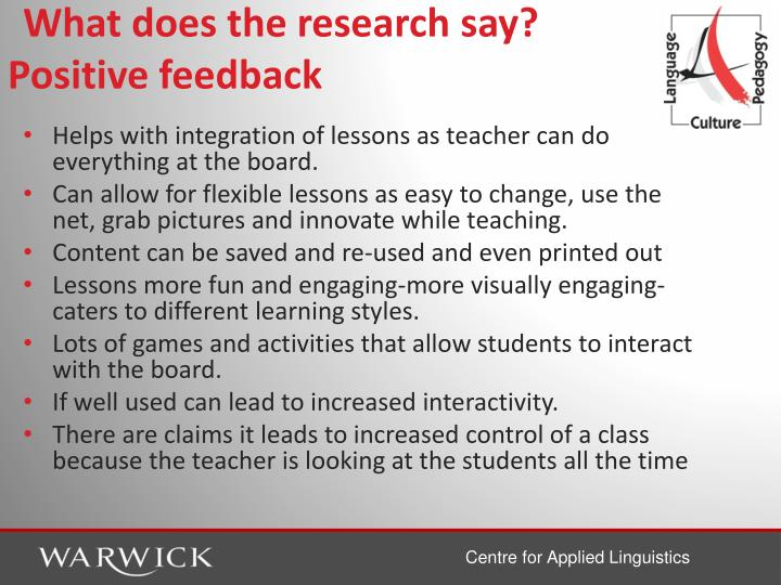 What does the research say? Positive feedback