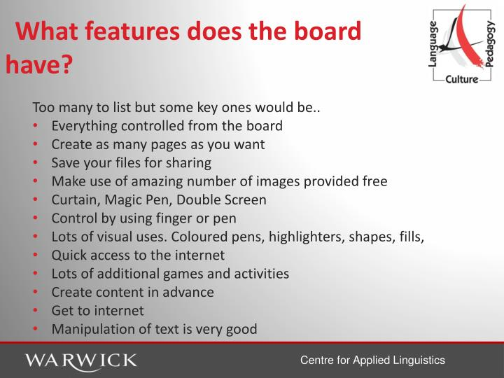 What features does the board have?