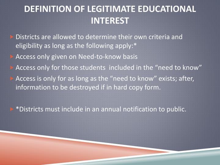 Definition of Legitimate Educational Interest