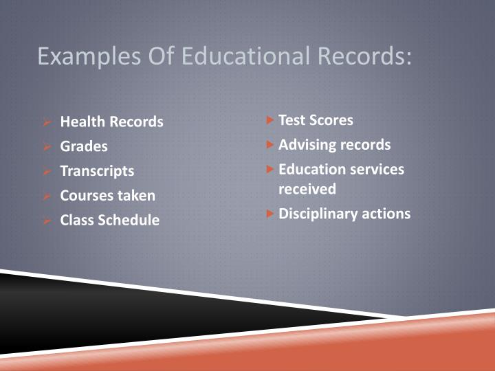 Examples Of Educational Records: