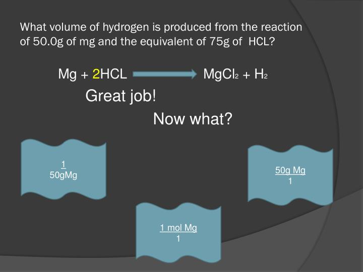 What volume of hydrogen is produced from the reaction of 50.0g of mg and the equivalent of 75g of  HCL?