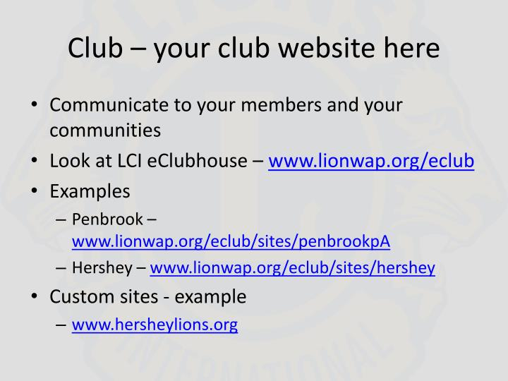 Club – your club website here