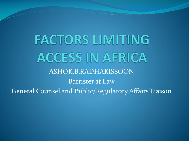 Factors limiting access in africa