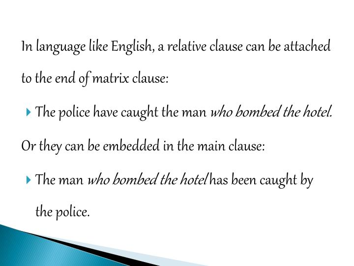 In language like English, a relative clause can be attached to the end of matrix clause: