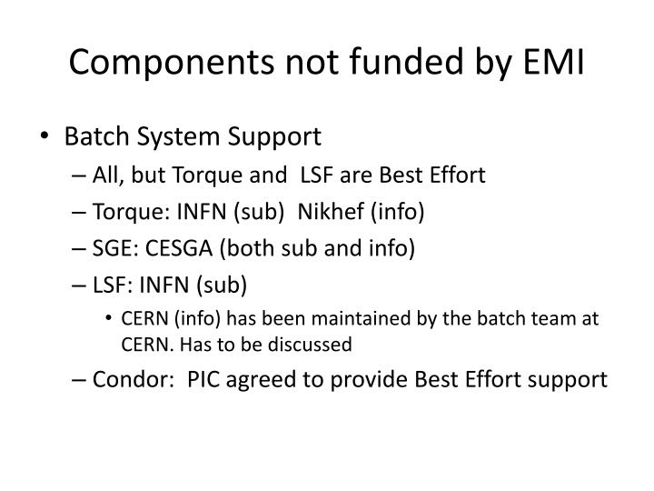 Components not funded by emi1