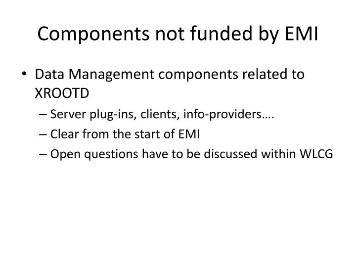 Components not funded by EMI