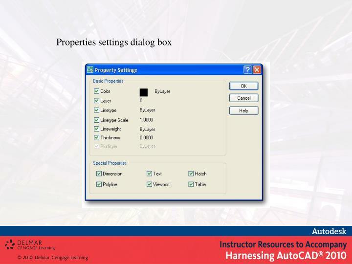 Properties settings dialog box