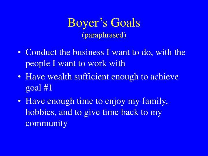 Boyer's Goals