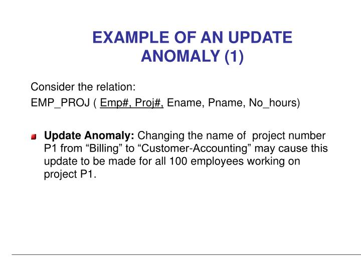 EXAMPLE OF AN UPDATE ANOMALY (1)