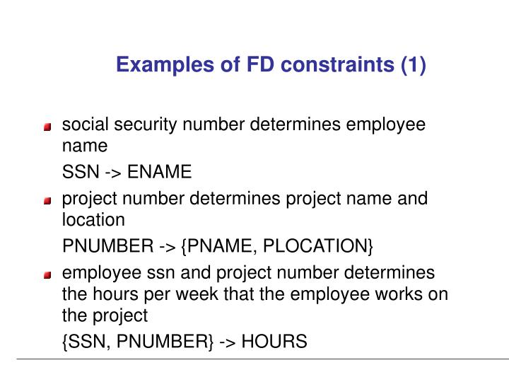 Examples of FD constraints (1)