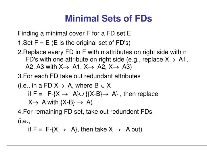 Minimal Sets of FDs