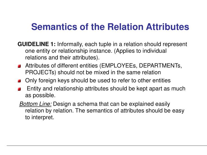 Semantics of the Relation Attributes