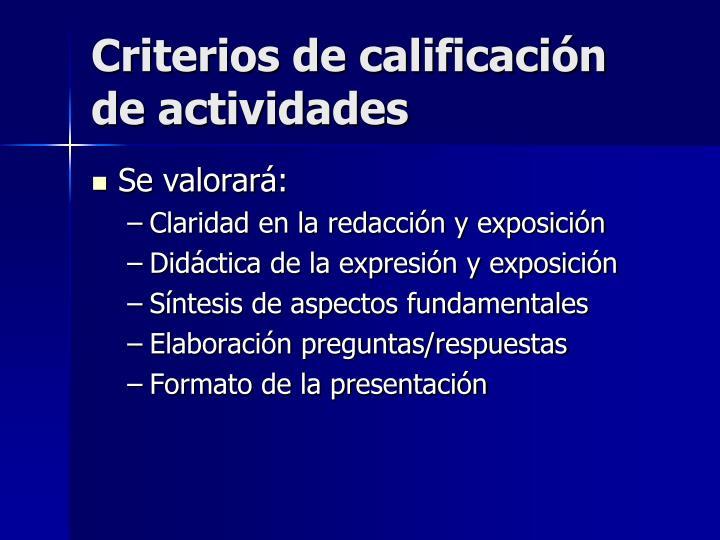 Criterios de calificación de actividades