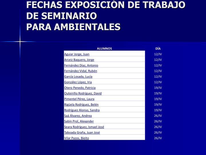 FECHAS EXPOSICIÓN DE TRABAJO DE SEMINARIO