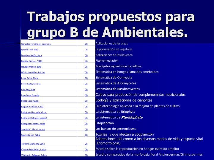 Trabajos propuestos para grupo B de Ambientales.