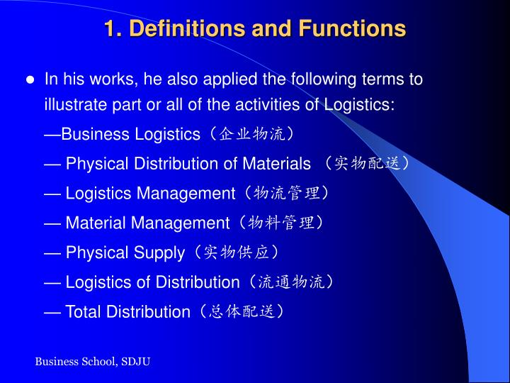 1. Definitions and Functions