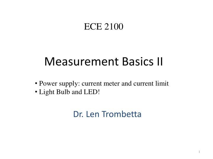 Measurement basics ii