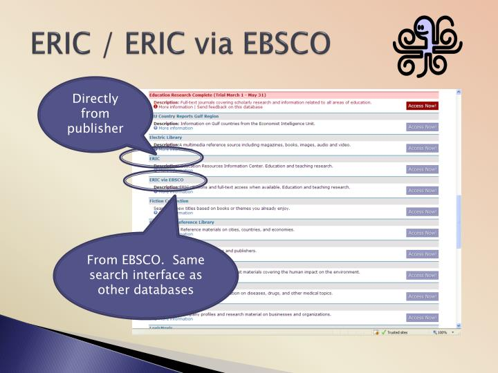 ERIC / ERIC via EBSCO