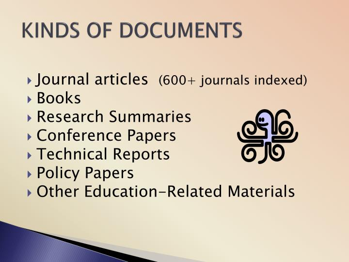 KINDS OF DOCUMENTS