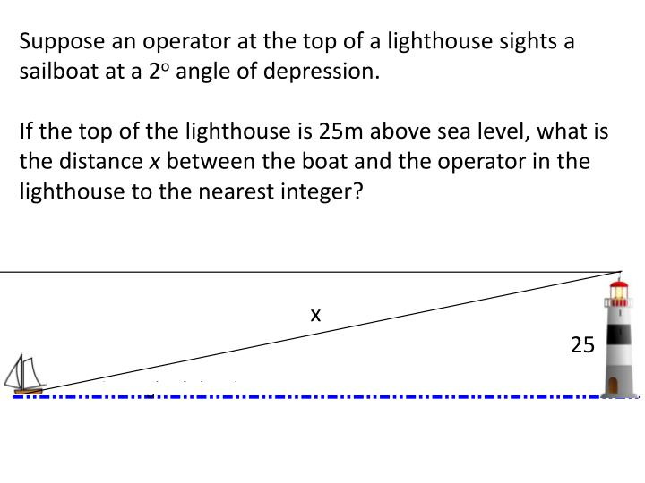 Suppose an operator at the top of a lighthouse sights a sailboat