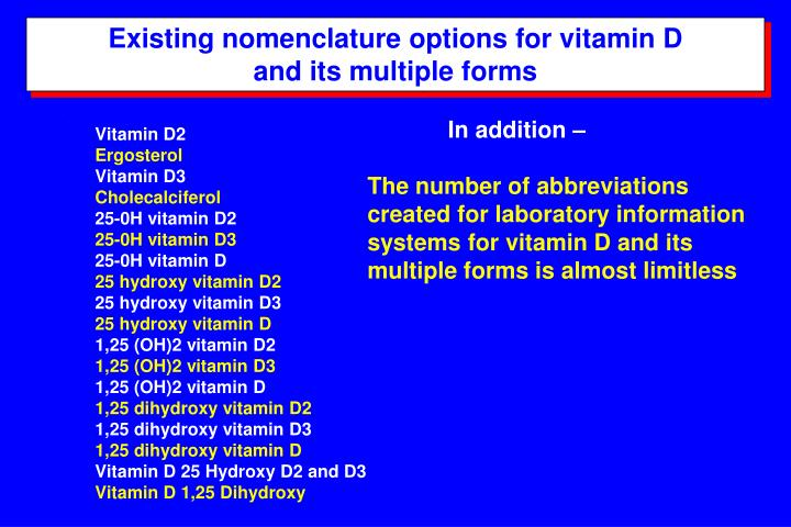 Existing nomenclature options for vitamin D