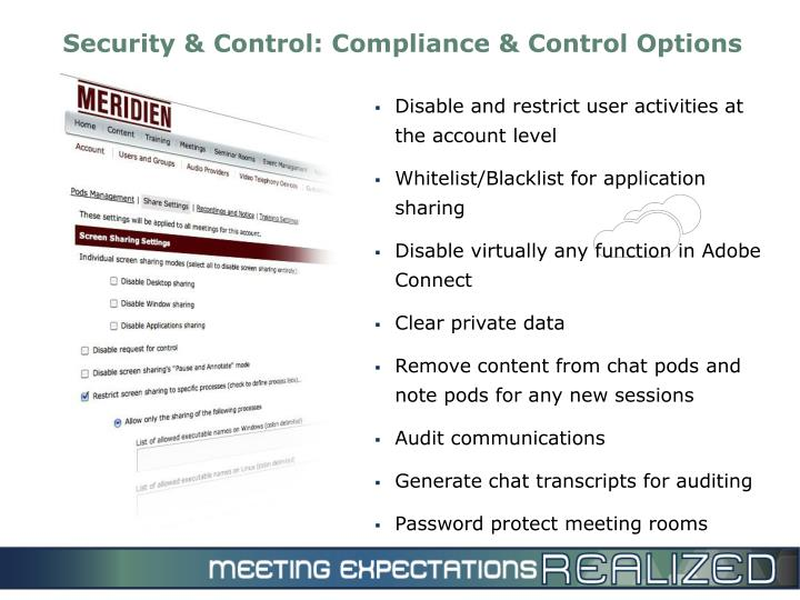 Security & Control: Compliance & Control Options